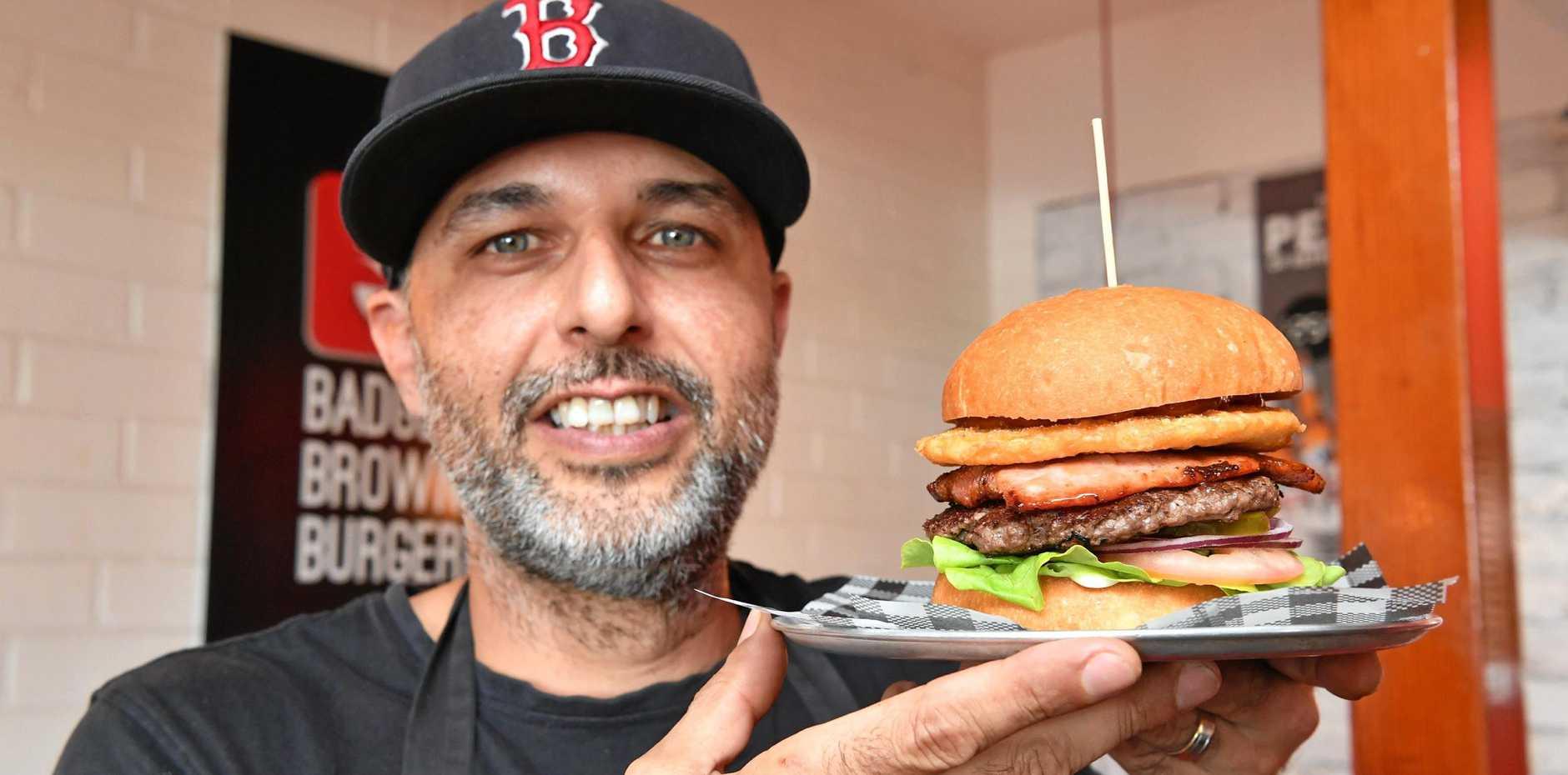 BEST BURGER: Ben Bundellu (owner/chef) at Badger & Brown's Burgerie at Torquay with the Lifesaver Burger.