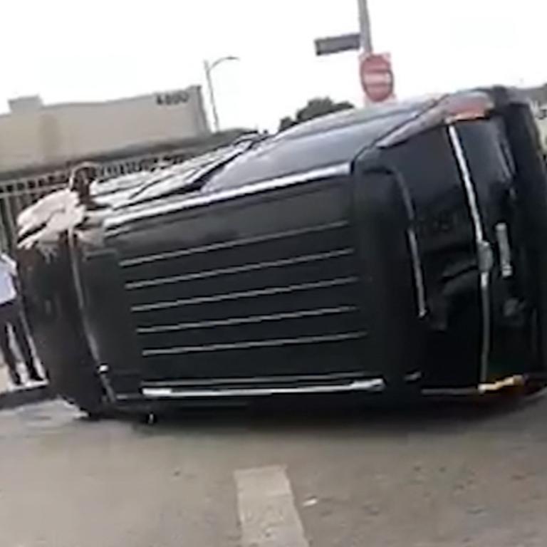 The scene of the crash. Picture: TMZ/BackGrid