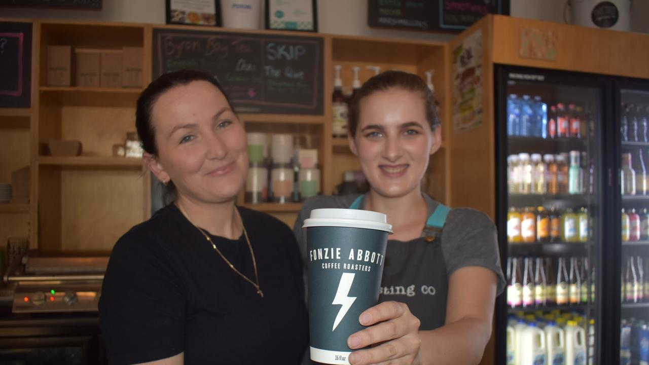 Celeste Mayes and Bryana Lamb-Miller from the Tasting Co are donating $1 from every coffee sold next week to Amanda Weyman-Jones' MS treatment.