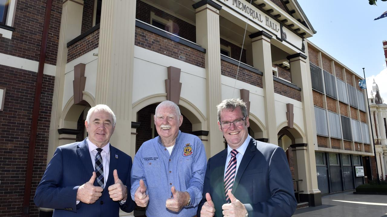 RSL finally receives necessary funding for renovations, from left; TRC mayor Paul Antonio, Toowoomba RSL sub-branch president Roland Thompson and Groom MP John McVeigh celebrate the $4 million funding announcement for the major renovation of the Soldiers Memorial Hall in March this year.
