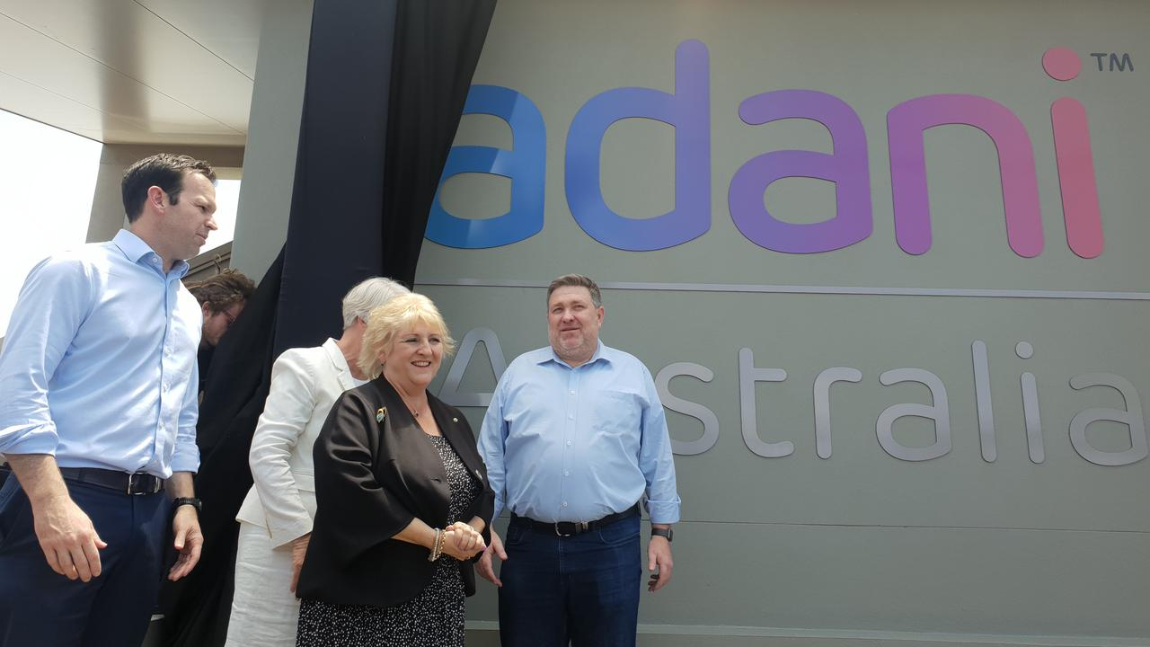 BIG REVEAL: Adani Mining chief executive Lucas Dow unveiled the sign on Adani's new Rockhampton office with Resources Minister Matt Canavan, Adani Mining chief executive Lucas Dow, Capricornia MP Michelle Landry and Rockhampton Region mayor Margaret Strelow.