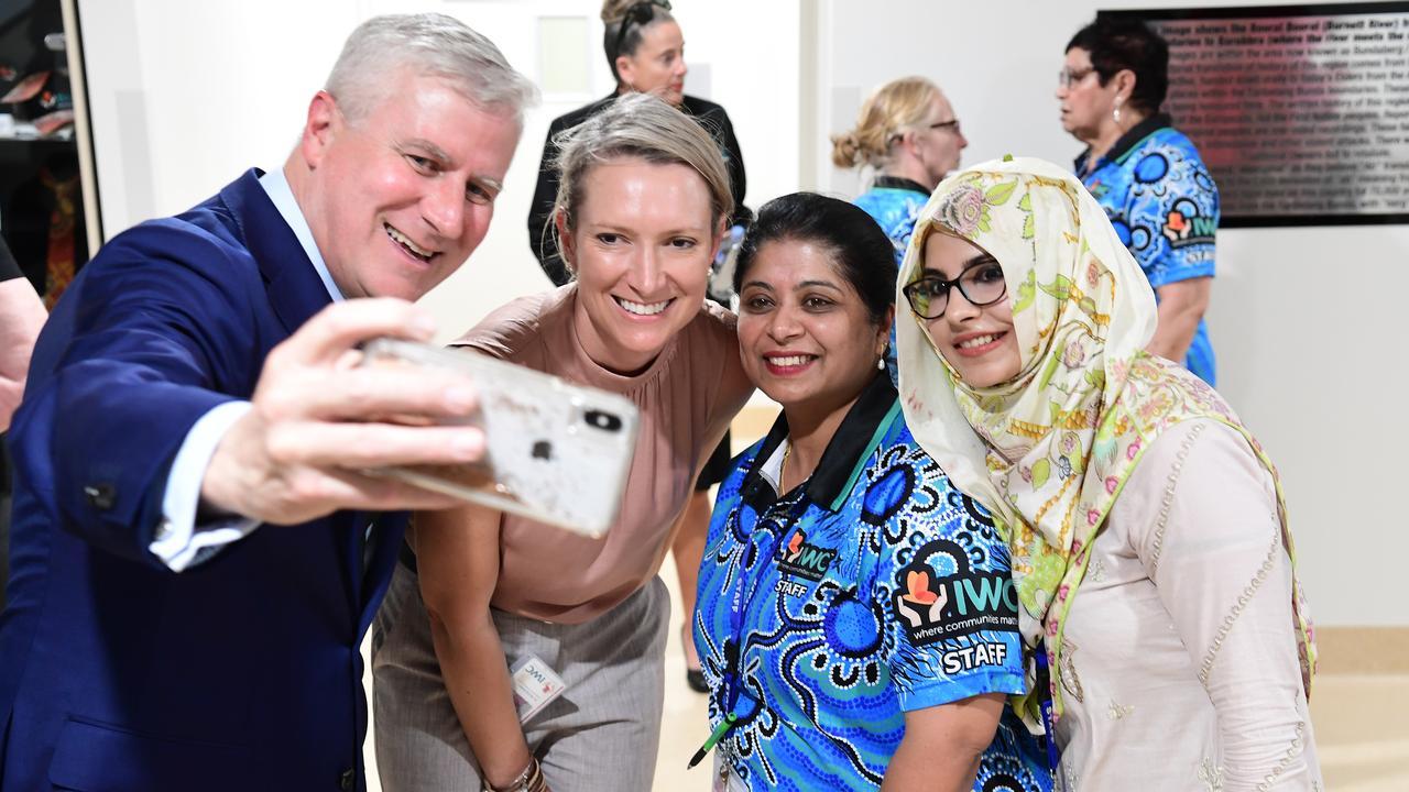 Deputy Prime Minister Michael McCormack, Dr Alicia Kohn, Dr Sherine Tobias and Dr Rabiya Sajjad at the IWC in Bundaberg.