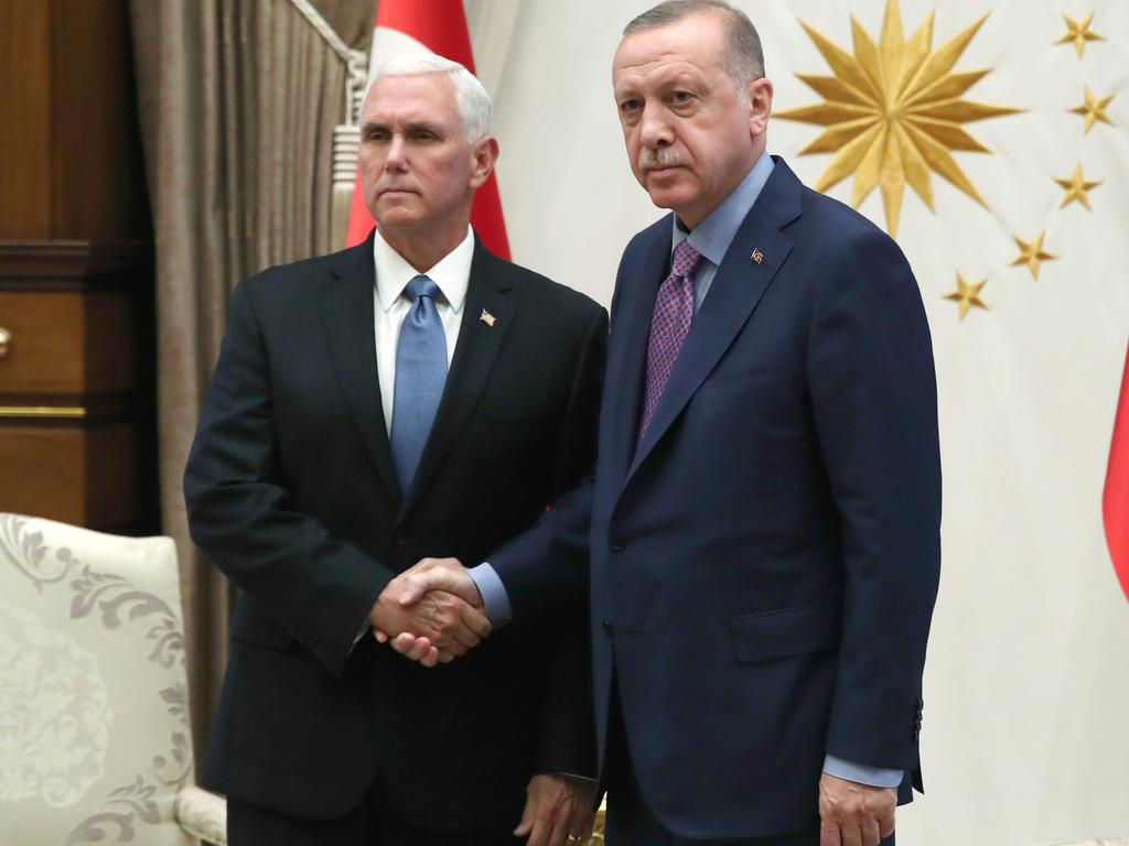 Turkish President Recep Tayyip Erdogan and US Vice President Mike Pence in Turkey. Picture: Murat Cetinmuhurdar/Turkish Presidency via Getty Images