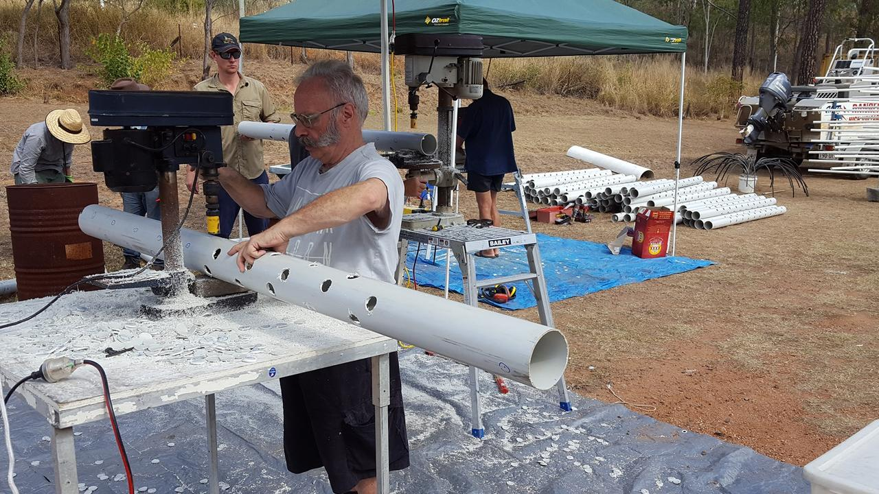 Mount Morgan business owner, Graeme Meade helped others build fish structures for fingerlings.