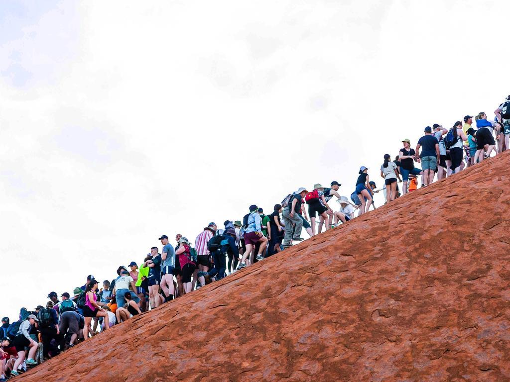 Climbers heading up Uluru in Uluru-Kata Tjuta National Park. Pic: Supplied