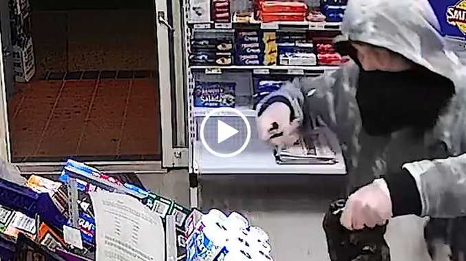 WATCH: Armed robber's mask fail caught on CCTV