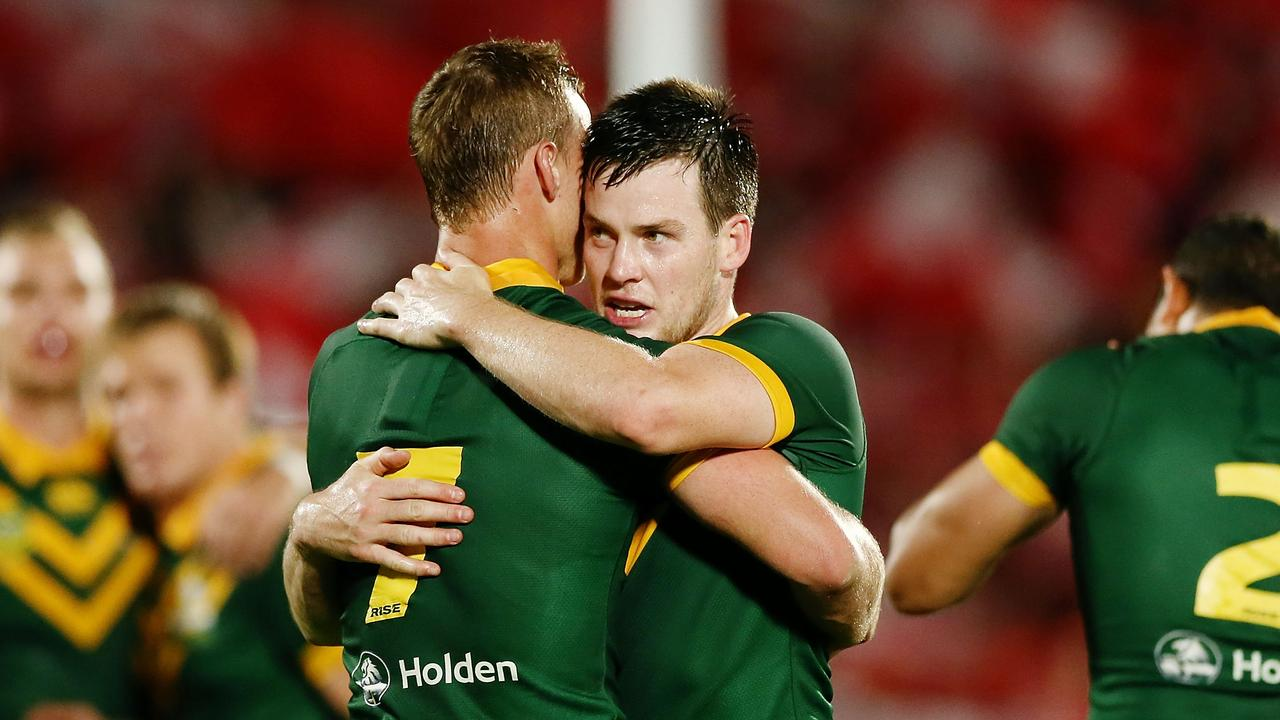 AUCKLAND, NEW ZEALAND - OCTOBER 20: Luke Keary and Daly Cherry-Evans of Australia celebrate after winning the International Test match between Tonga and Australia at Mount Smart Stadium on October 20, 2018 in Auckland, New Zealand. (Photo by Anthony Au-Yeung/Getty Images)
