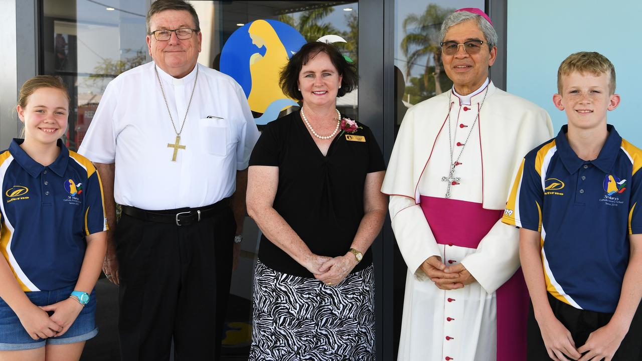 Tayah Ellis, Bishop Michael McCarthy, Principal Jennifer Harris, The Apostolic Nuncio to Australia, His Excellency , Most Reverend Adolfo Tito Yllana and Harley Biles at the blessing of St Mary's schools new building.