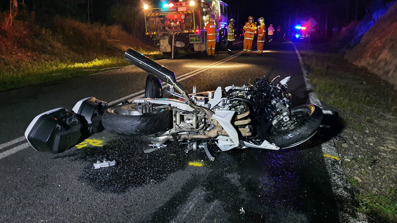 CRASH SCENE: It's believed the man who died when a car and motorbike collided yesterday is from the Coffs Harbour area.