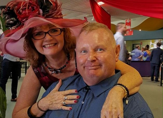 REST IN PEACE: Trevor Campbell (right) at the races with his sister Debbie a few years ago. Trevor tragically died in a motorcycle accident yesterday.