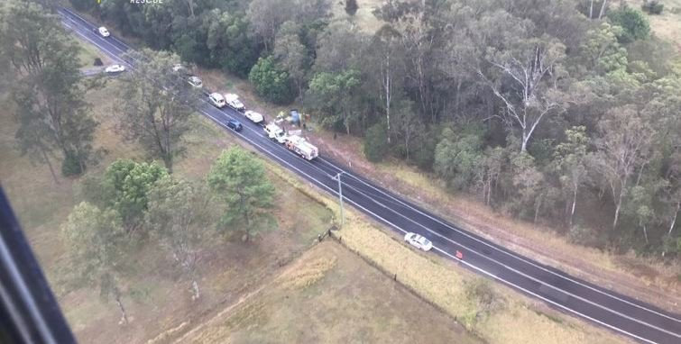The crash scene near Pomona this morning where the driver was airlifted the Royal Brisbane and Women's Hospital on an RACQ LifeFlight helicopter