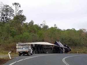 ROAD CLOSURE: pumpkin truck roll-over closes highway lane