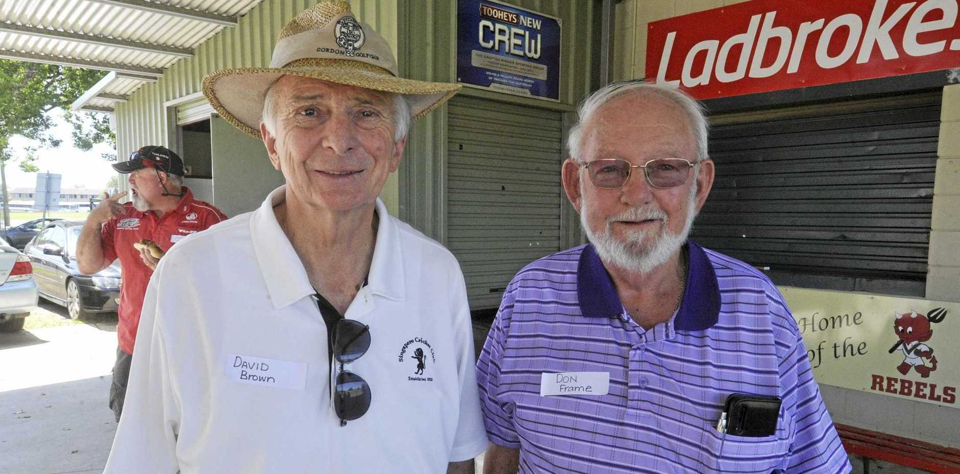 David Brown and Don Frame at the Clarence River Cricket Association reunion at McKittrick Park on Saturday.