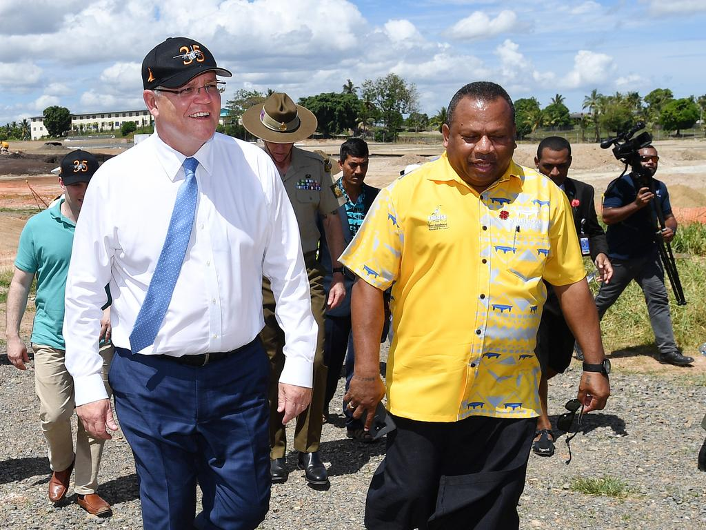 Prime Minister Scott Morrison with the Fiji Minister for Defence and National Security Inia Seruiratu in Nadi, Fiji, October 12, 2019. Picture: AAP Image/David Mariuz