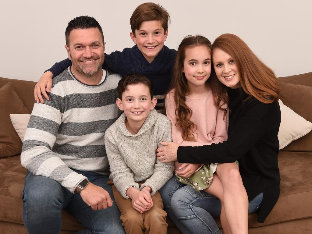 Simone and Richard Clements with their children Riley, 12, Hayden, 9, and Carlee 9. Picture: Tony Gough