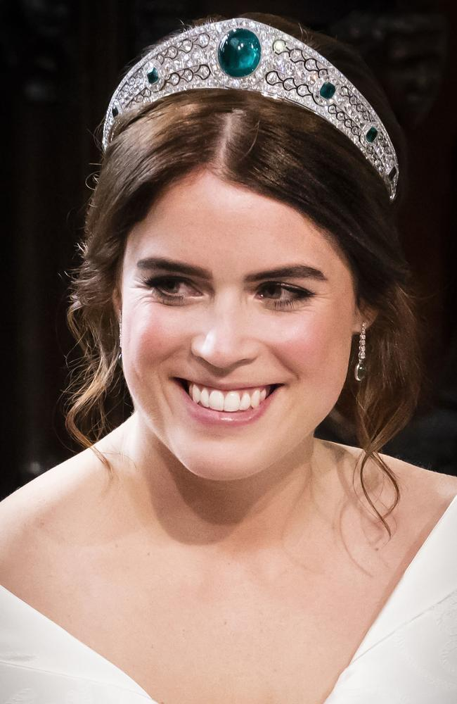 Princess Eugenie wore this impressive emerald tiara from the Greville haul to her wedding. Picture: Danny Lawson — WPA Pool/Getty Images