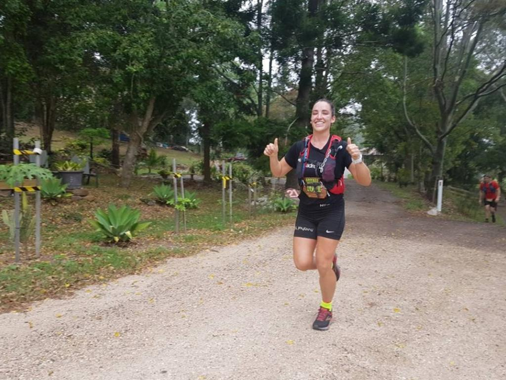 Jackie Bell, the youngest person to complete ultra-marathons on seven continents, sets off at the start of the Blackall 100 this morning.
