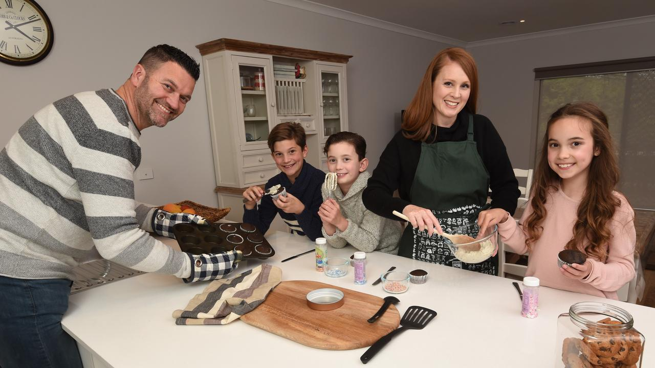 Australian parents are adopting an authoritative approach to parenting. Parents, Simone and Richard Clements with their children Riley (12), twins Hayden (9) and Carlee (9). Picture: Tony Gough