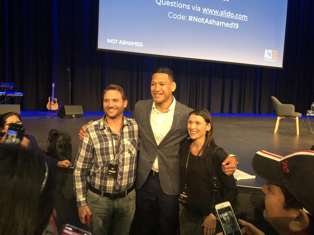 Israel Folau with fans at the ACL conference. Picture: Brenden Hills