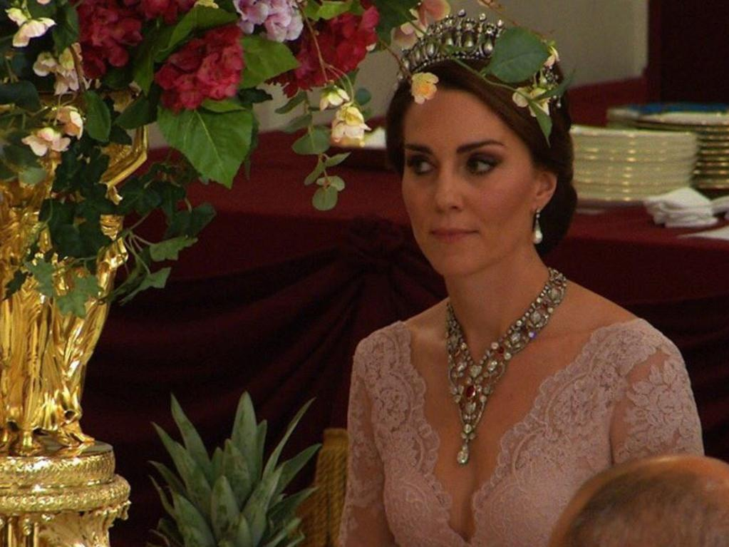 Kate wearing the extravagant Greville ruby and diamond necklace at a state banquet at Buckingham Palace. Picture: @KensingtonRoyal/Twitter