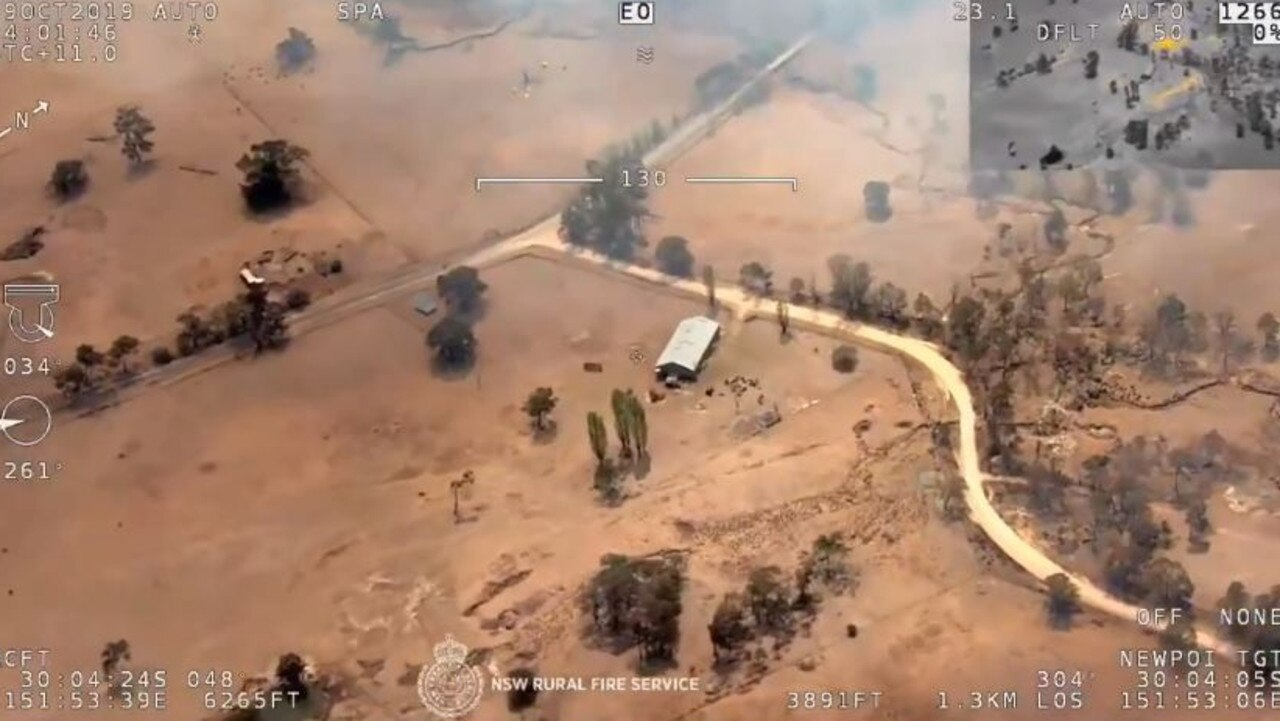 Overhead vision of homes near Backwater. Picture: Twitter @NSWRFS