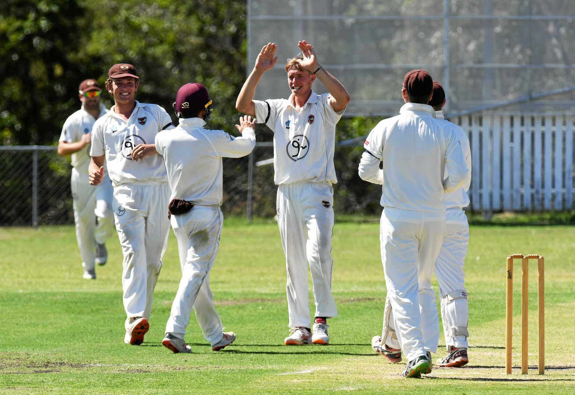 Ipswich Hornets V Sunshine Coast played at Baxter Oval on Saturday. Jack Wood celebrates a wicket.
