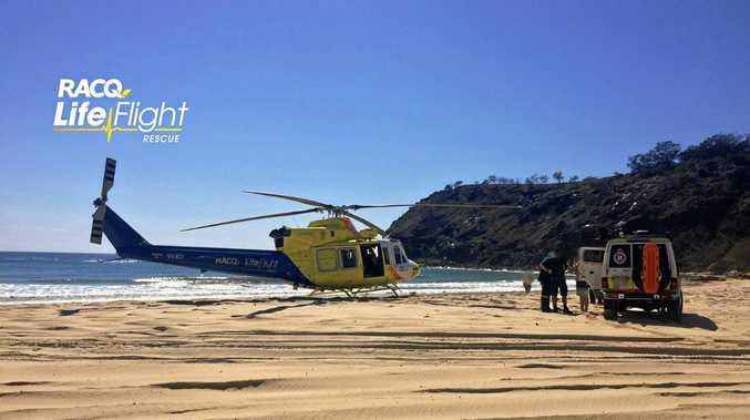 FUEL FIRE: Man burns arms on Fraser Island