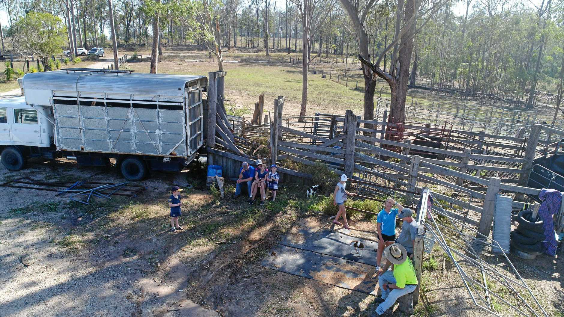Aerial footage shows the destruction caused after a strong microburst tore through the Gympie region yesterday (Saturday afternoon), bringing down trees, damaging a shed and fences. This photo was taken at a Harvey Siding Road property.