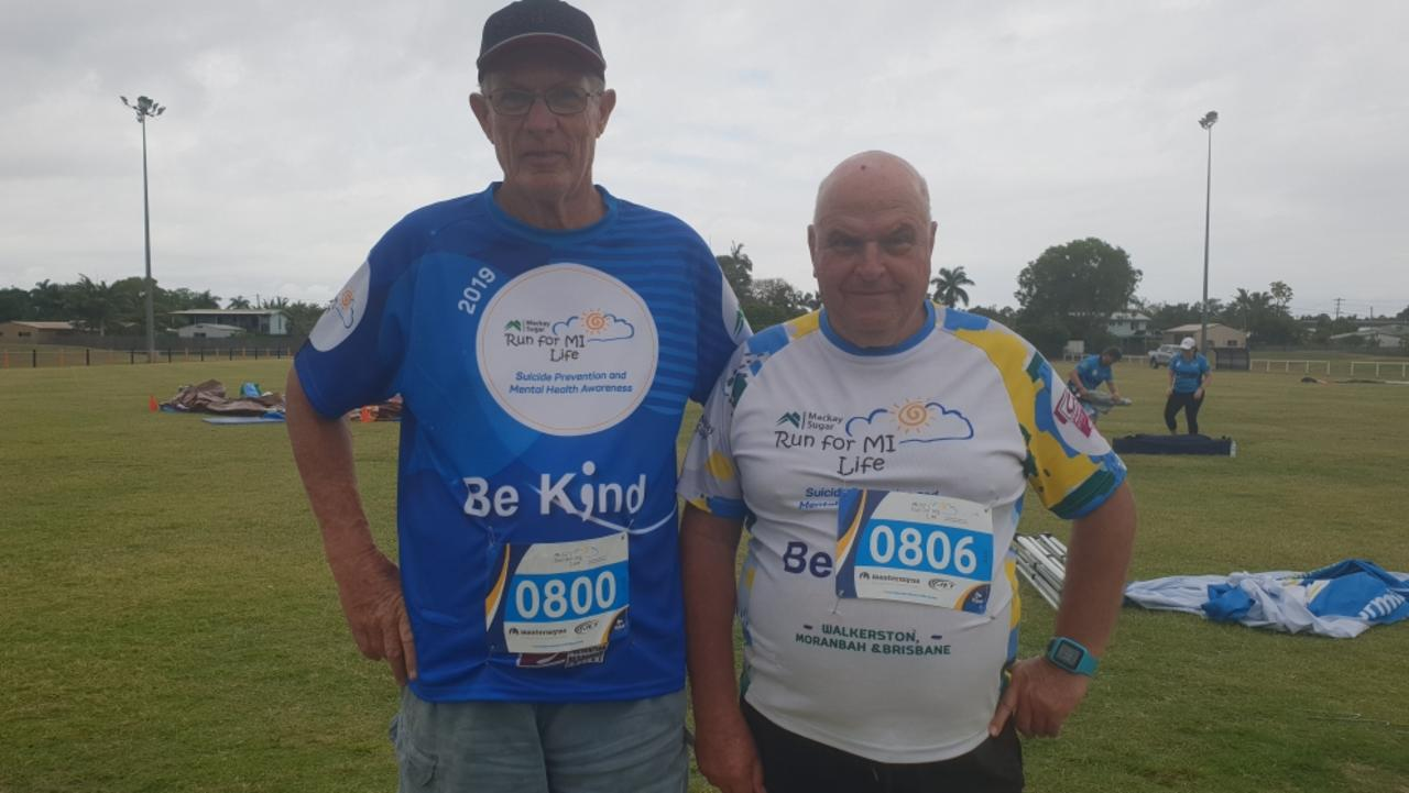 Steve Wilson and Frank Yeats at the Run For MI Life event in Walkerston.