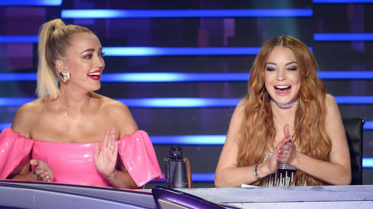 Jackie O and Lindsay Lohan on The Masked Singer Australia.