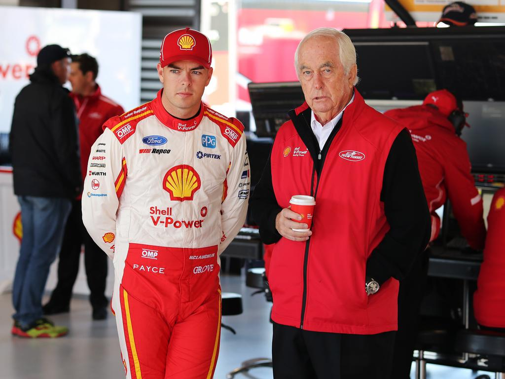 Scott McLaughlin and Roger Penske. Picture Rohan Kelly