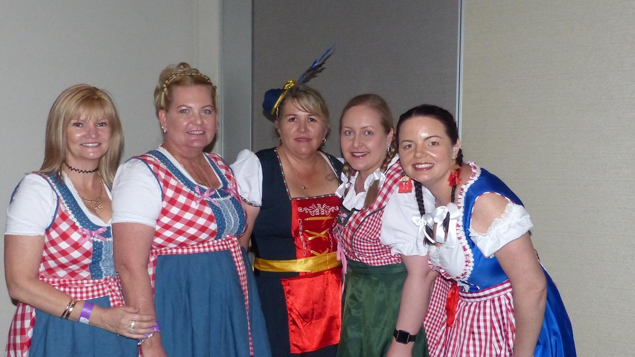 GUTEN TAG: Sarah Smith, Fay Holzheimer, Debbie Dougan, Natasha Holzheimer and Monique Ward at Gladstone Oktoberfest, held at Yaralla Sports Club.