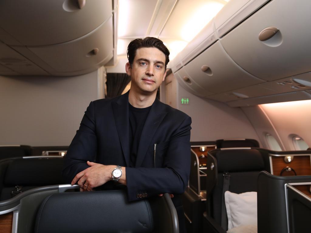 Industrial designer David Caon in Qantas' newly refurbished A380. Picture: David Swift.
