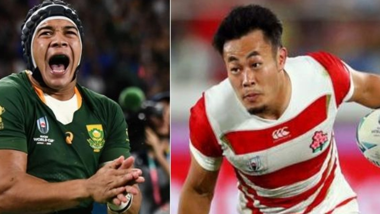 South African winger Cheslin Kolbe (left) and Japanese winger Kenki Fukuoka will be key to their side's chances in Sunday night's quarter-final.