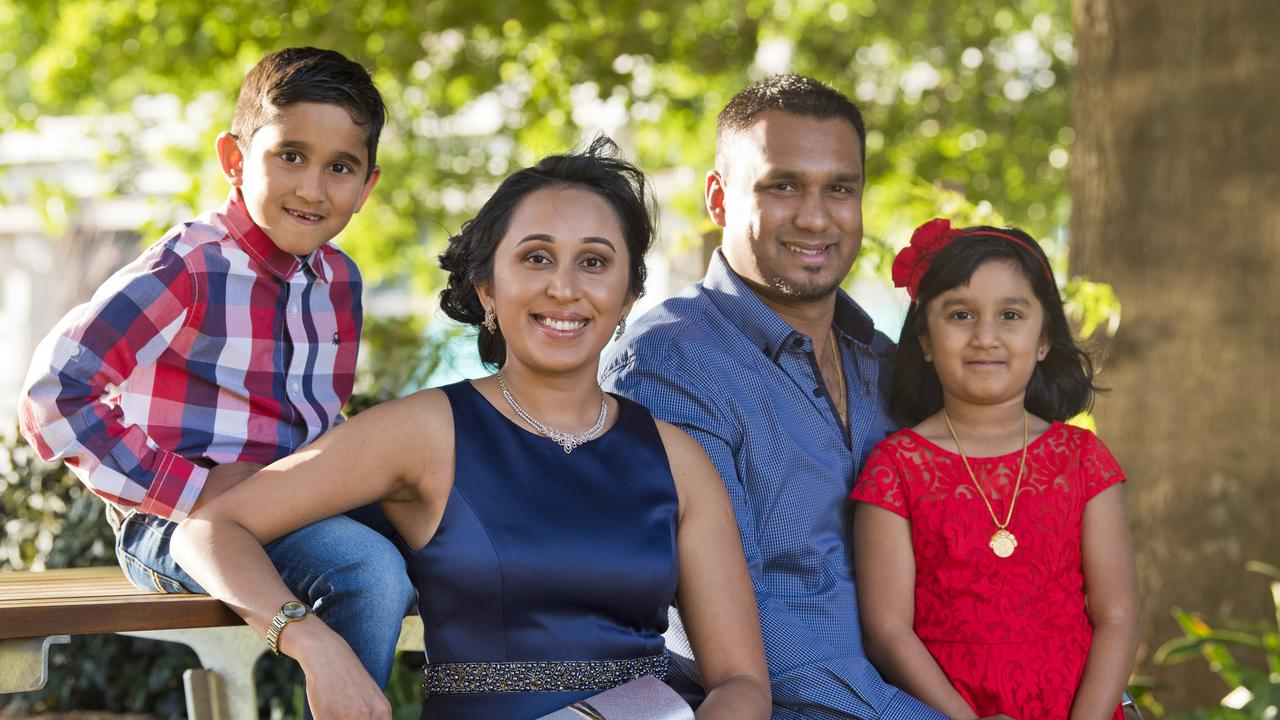 Citizens' representative Deemani Jayamanna, with husband Shan Wanasinghe and their son Hiresh Wanasinghe and daughter Senaya Wanasinghe before the Toowoomba Regional Council Australian Citizenship Ceremony at The Annex, Friday, October 18, 2019. Picture: Kevin Farmer