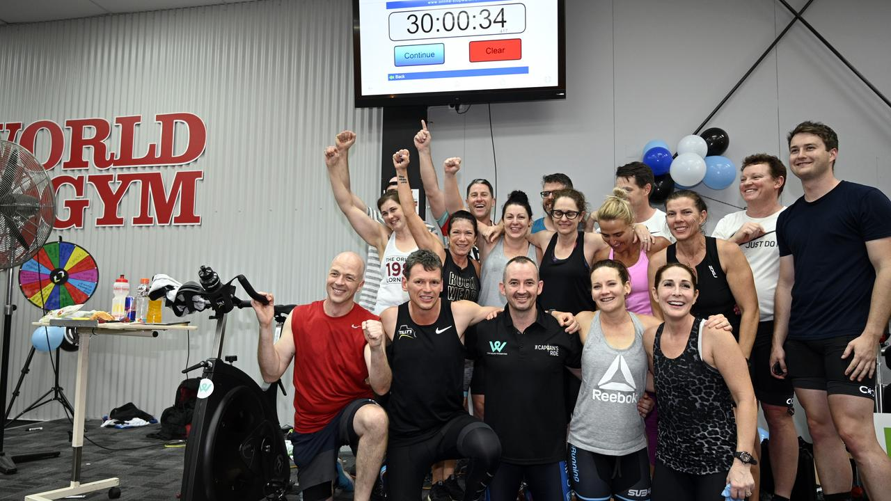 World Gym Toowoomba trainer Michael Aspinall and 16 riders set the Guinness World Record for the Longest Static Spin Class at World Gym. All riders finished the 30 hours. October 2019. Picture: Bev Lacey