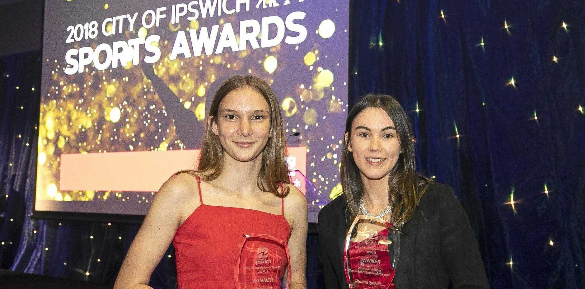 2018 City of Ipswich Sports Awards winners Tamzin Christoffel (Junior Sportsperson of the Year) and Deanna Lockett (Senior Sportsperson of the Year).