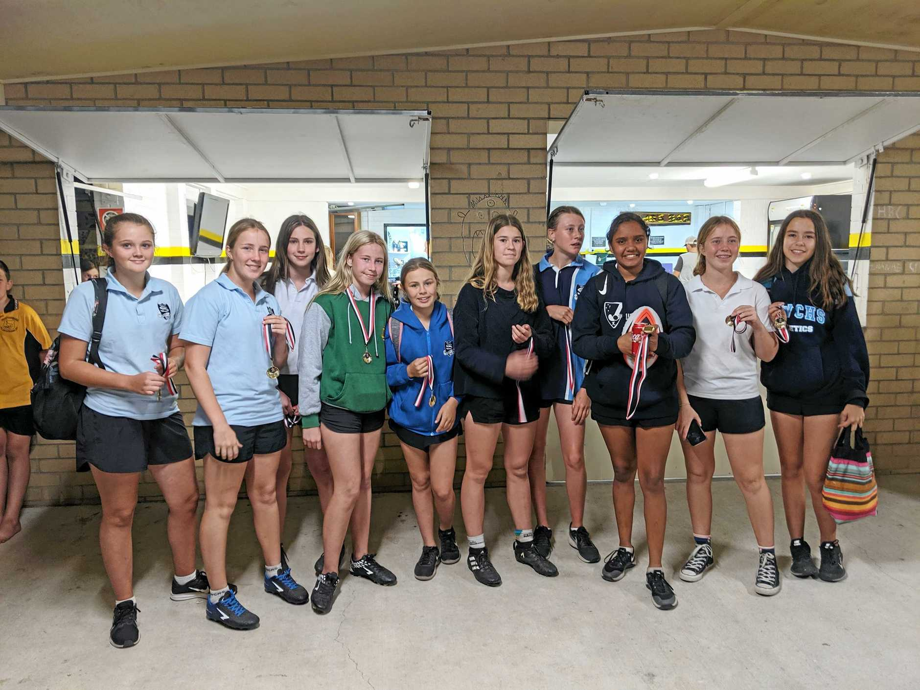 CHAMPIONS: Grafton High School, junior girls winners of the Daily Examiner Shield touch football gala day at the Yamba Sports Complex on Monday night.