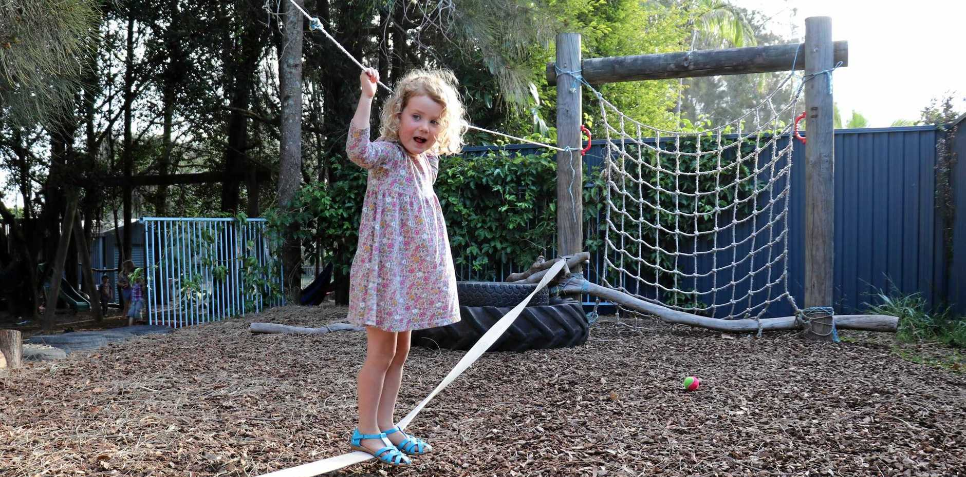 FUN LEARNING: Rose, aged four, enjoys the new facilities at Sandhills Early Childhood Centre.