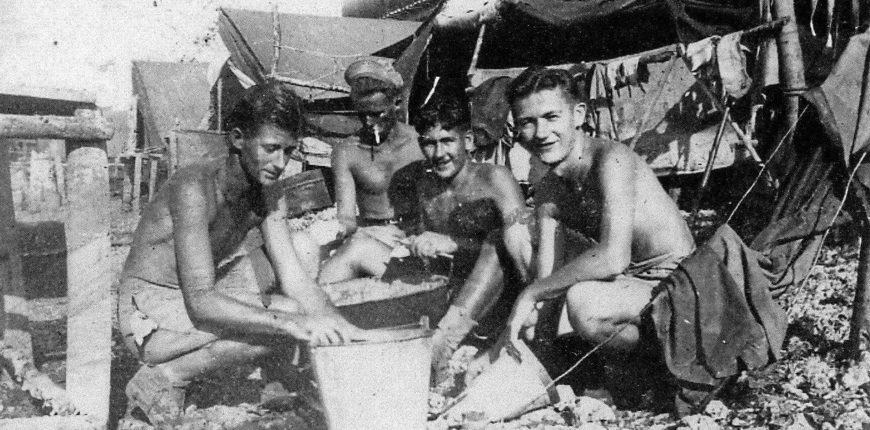 END OF THE WAR: Ted Bleakly (right) at a camp in the Pacific.