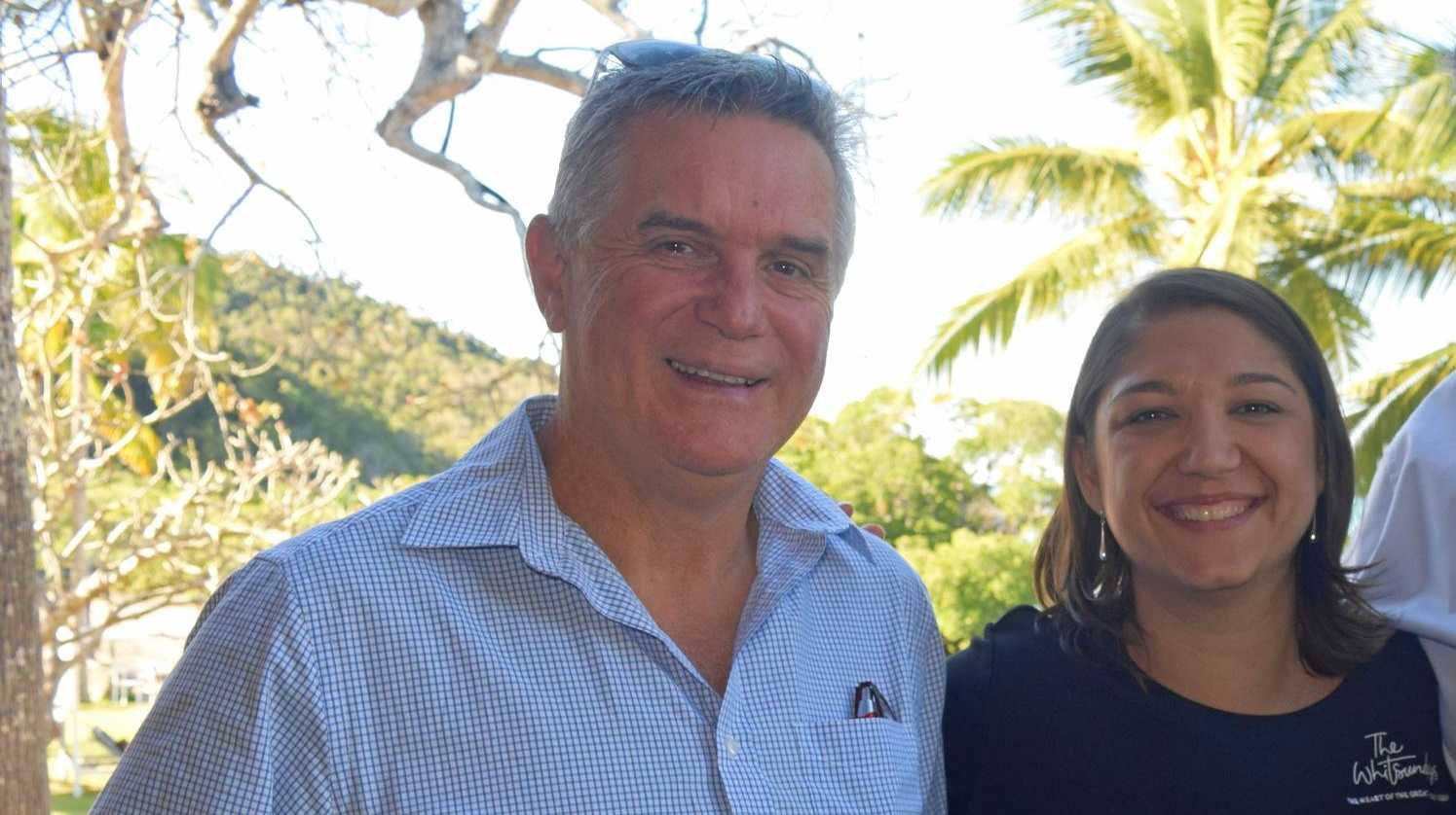 Tourism Whitsundays chairman Al Grundy and chief executive officer Tash Wheeler are happy to welcome a new cruise ship to the Whitsundays.