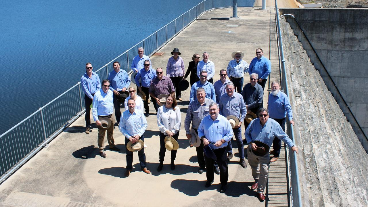 North Burnett and Bundaberg councillors at a meeting at Paradise Dam on October 3.