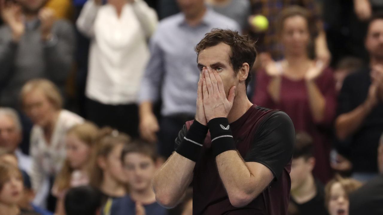Andy Murray of Britain reacts after winning the European Open final tennis match in Antwerp, Belgium. Picture: AP Photo/Francisco Seco