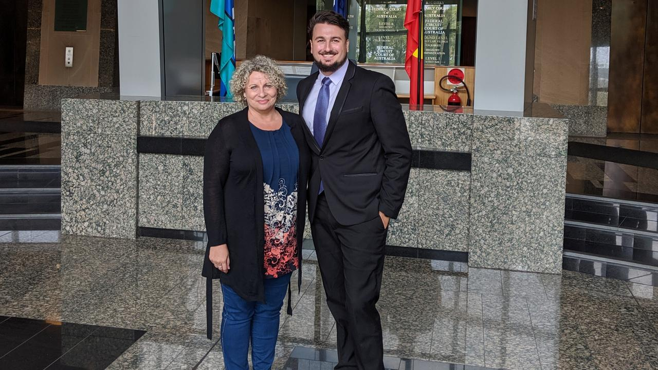 Trinity Beach woman Robyn Hausler with her lawyer James Harding outside the Federal Court after their victory. Picture: Supplied