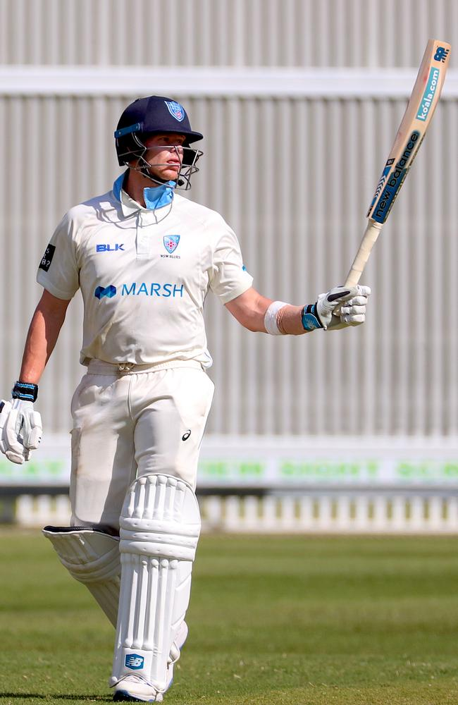 Steve Smith notched a Shield century at Drummoyne Oval. Picture: David Gray