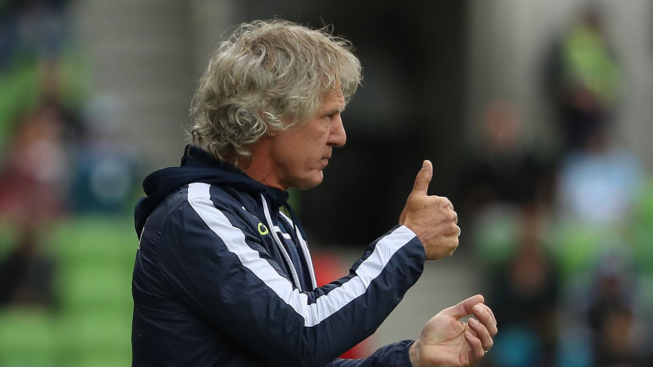 Coach Gertjan Verbeek during Adelaide United's A-League loss to Melbourne City. Picture: Robert Cianflone/Getty Images