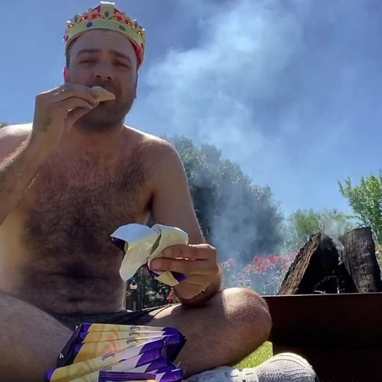 Bruno Bouchet has caused a stir after he threw 16 highly sought-after blocks of Cadbury Caramilk onto a fire. Picture: Instagram / Bruno Bouchet