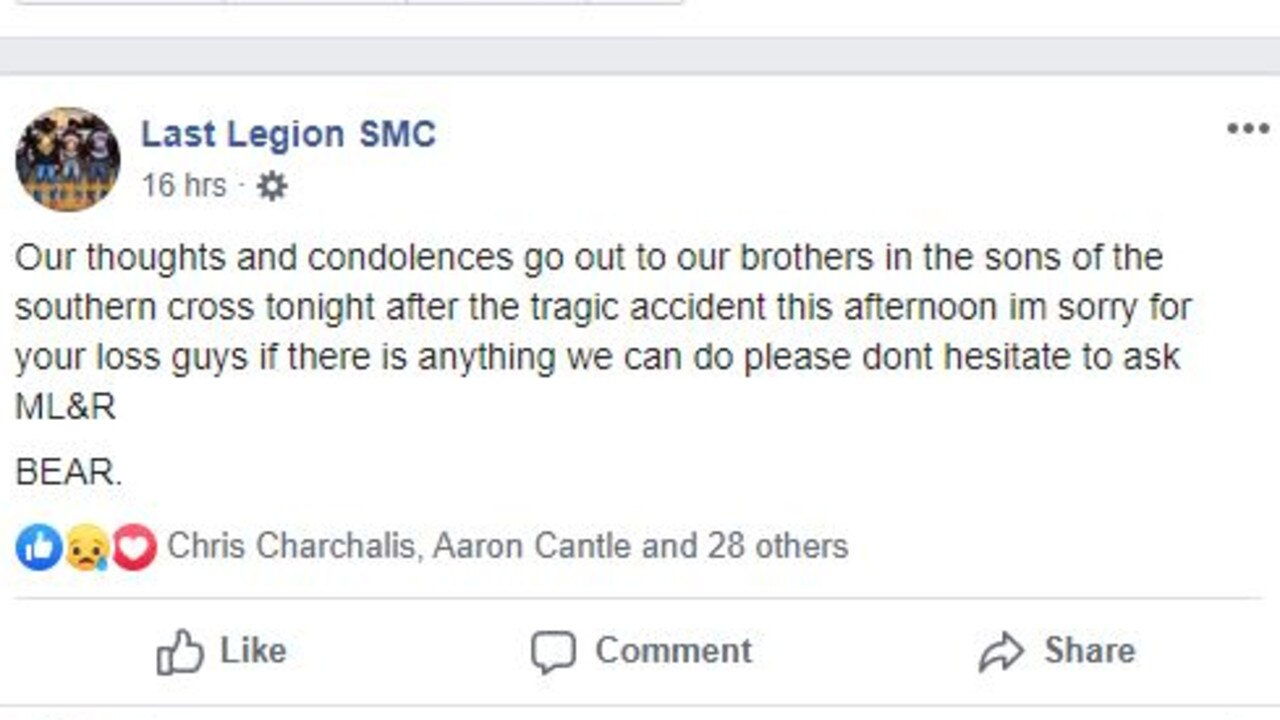 Condolences are shared with the victim's club. Picture: Facebook