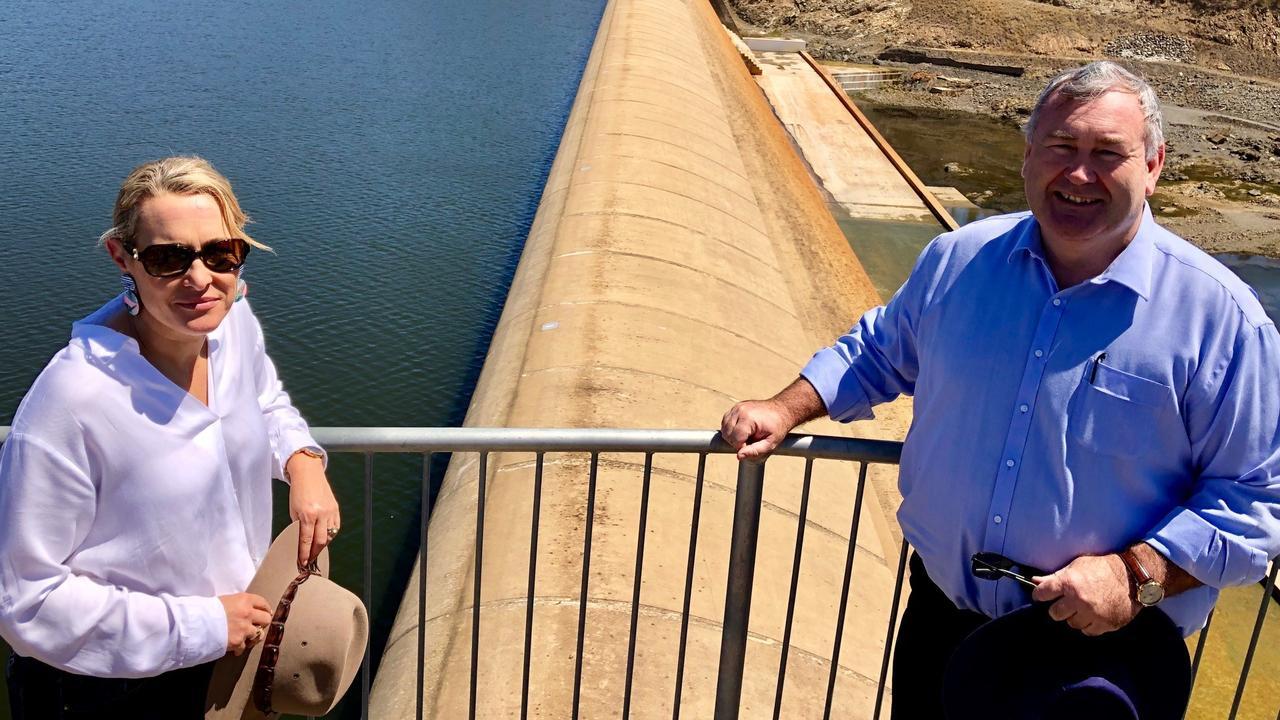 UNITED: North Burnett mayor Rachel Chambers and Bundaberg mayor Jack Dempsey meet at Paradise Dam on October 3.
