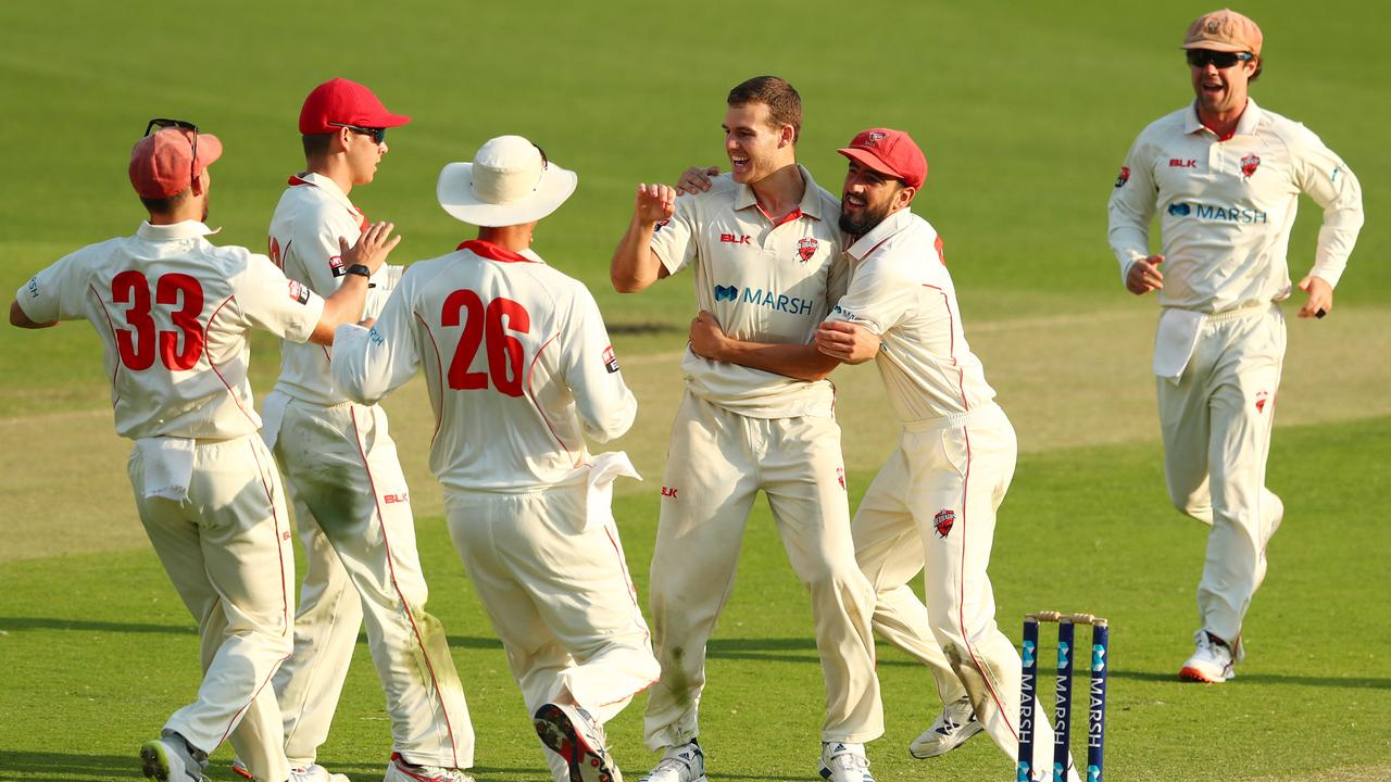 Nick Winter of South Australia celebrates dismissing Bryce Street of Queensland during day three of the Sheffield Shield match between Queensland and South Australia at The Gabba. Picture: Chris Hyde/Getty Images